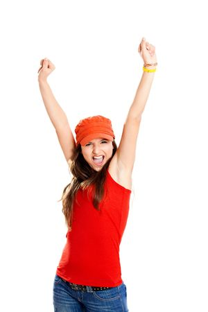 Beautiful and happy young girl with arms on the air, isolated on white Stock Photo - 6534182