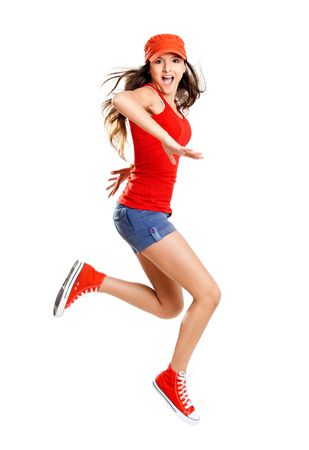 sexual activities: Beautiful teenage girl jumping of happiness isolated on white  Stock Photo