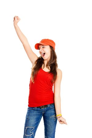 Beautiful and happy young girl with arms on the air, isolated on white Stock Photo - 6554133