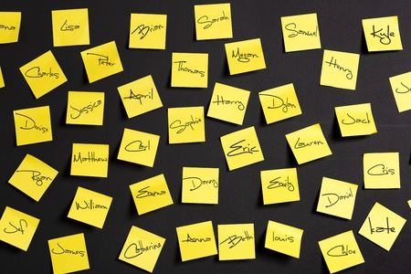 names: Yellow paper notes with male and female names  Stock Photo