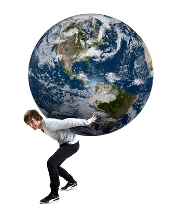 Handsome young man carying the planet earth on its backs, isolated on white photo
