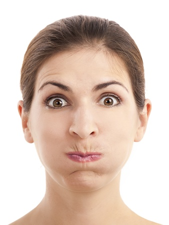 cheek: Close-up portrait of a woman with a silly expression, over a white background Stock Photo