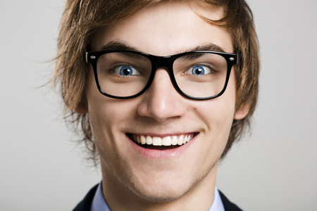 close up: Close-up portrait of business man wearing nerd glasses