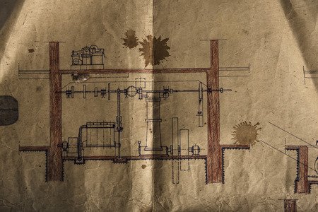 architectural drawing: Paper background made with a old design project