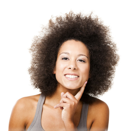 black woman face: Afro-American young woman smilling, isolated on white background