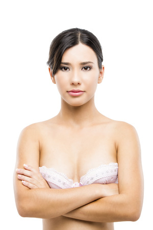 Beautiful asian woman in lingerie, isolated over white background photo