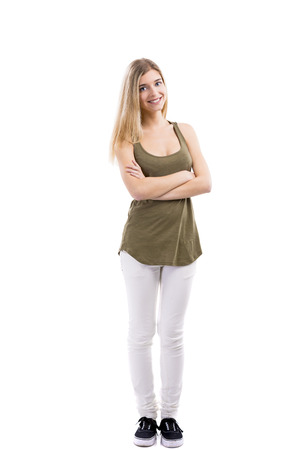 folded hands: Beautiful blonde woman smiling with hands folded, standing over white background Stock Photo