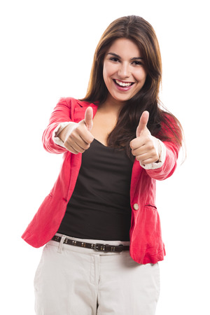 Modern business woman with thumbs up, isolated over a white background photo