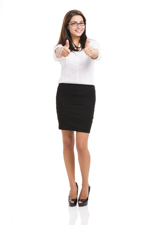 secretary skirt: Beautiful hispanic business woman smiling with thumbs up, over a white background