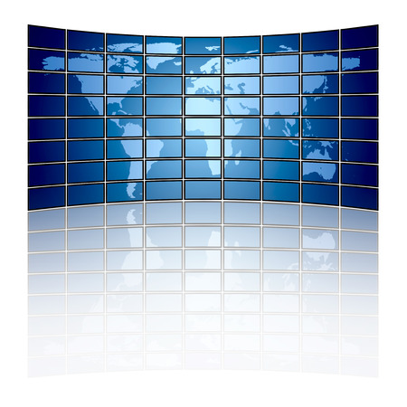 Large tv panel compound by a lot of screens displaying the world map photo
