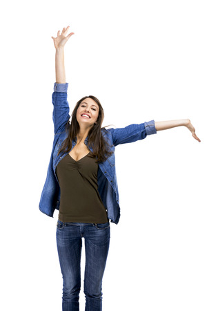 verry: Beautiful woman and verry happy woman with arms on the air, isolated over white background