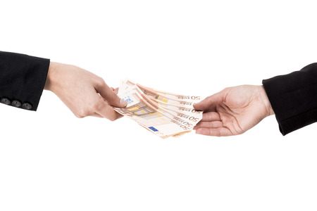 Concept image of hands making and receiving a payment, isolated over white background Stock Photo - 27647000