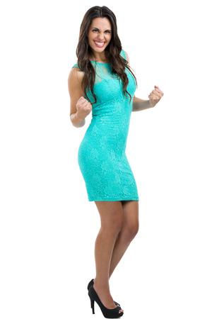 erfolgreiche frau: Sch�ne und erfolgreiche Frau mit einem sexy Kleid Lizenzfreie Bilder