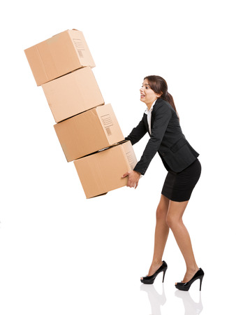 moving activity: Business woman carrying card boxes, isolated over white background