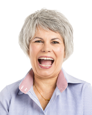 gaiety: Portrait of a elderly woman with a happy expression Stock Photo