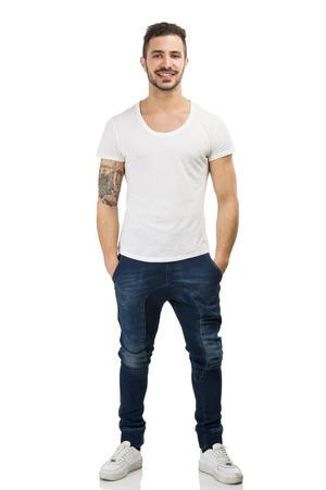 beautiful boys: Beautiful latin man smiling, isolated on white background