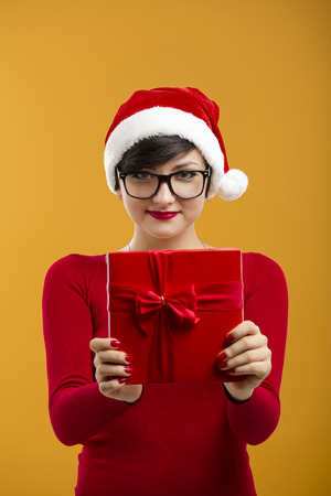santa clause hat: Beautiful and sexy girl wearing santa clause hat