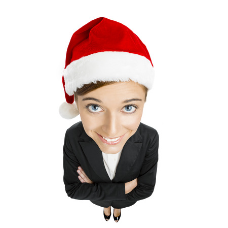 santa clause hat: Beautiful and sexy woman wearing santa clause hat