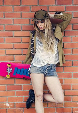 skate board: Skater Girl Stock Photo