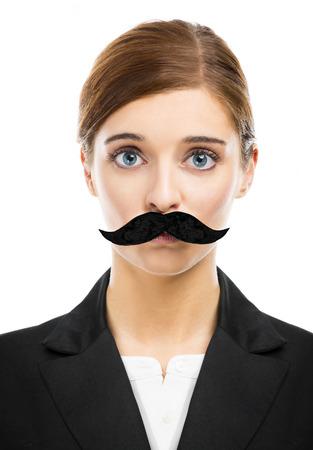 bigote: Hermosa mujer rubia con un bigote falso Foto de archivo