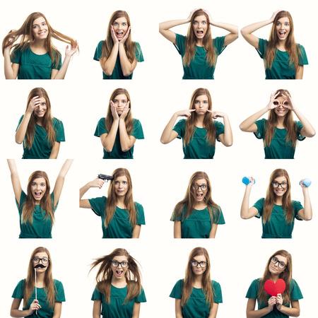Multipla collage di una bella giovane donna con diverse espressioni e fare cose diverse Archivio Fotografico