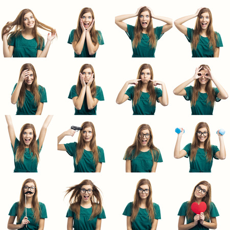 screaming face: Multiple collage of a beautiful young woman with different expressions and doing different things Stock Photo