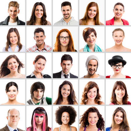 lachendes gesicht: Collage von Multiple Portr�ts verschiedener Menschen