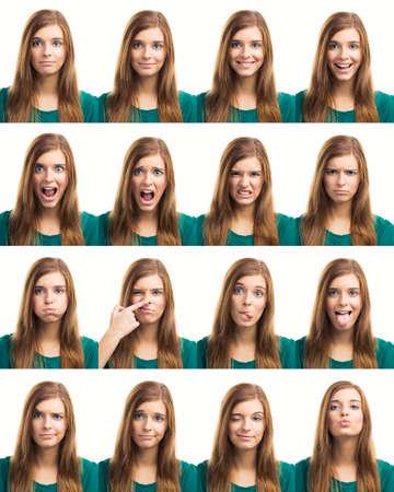 caras emociones: Collage múltiple de una hermosa mujer joven con diversas expresiones Foto de archivo