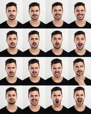 personne en colere: Composite de plusieurs portraits du m�me homme dans ses diff�rentes expressions