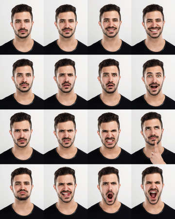 face to face: Composite of multiple portraits of the same man in different expressions Stock Photo