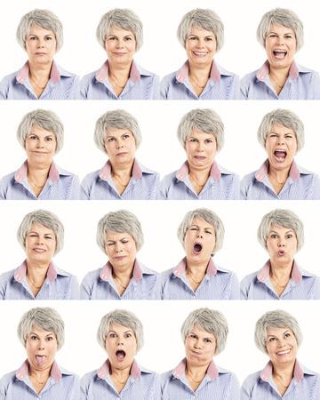 abuela: Collage m�ltiple de una mujer de edad avanzada en diferentes expresiones