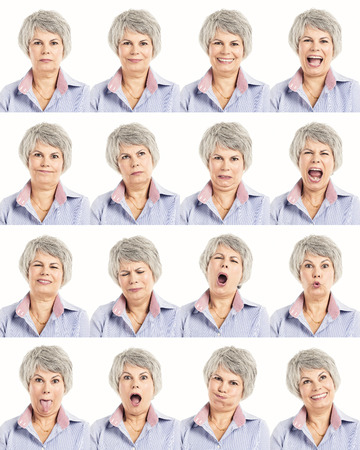 expression: Multiple collage of a elderly woman in different expressions Stock Photo