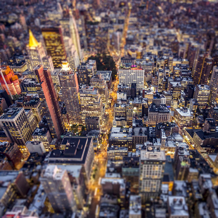 empire state: Top view of New York City, Tilt and Shift Blur