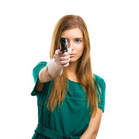 Beautiful woman holding a weapon Stock Photo