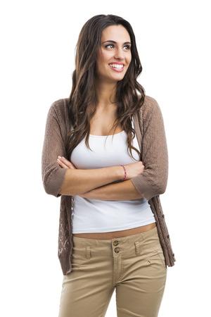 mujer pensativa: Hermosa mujer sonriente, aislado en blanco