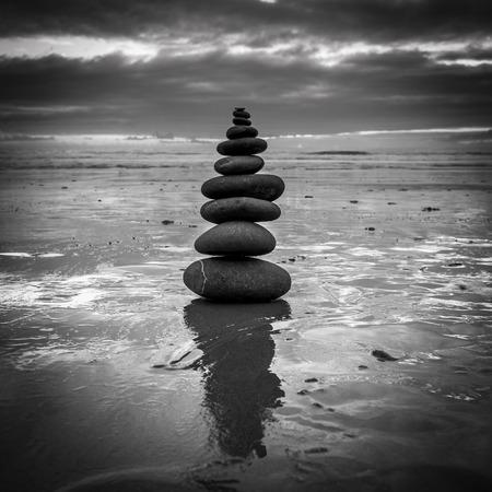 base: Zen balanced stones stack close up