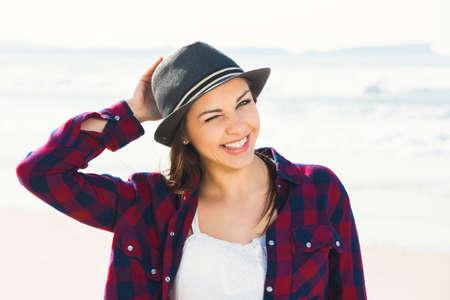 naughty woman: Beautiful and happy teen at the beach enjoying the summer