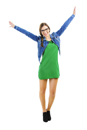 open up: Beautiful happy woman smiling with arms open, isolated over a white background Stock Photo