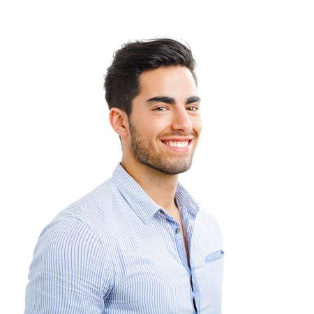 Portrait de jeune homme heureux beau isolé sur fond blanc Banque d'images
