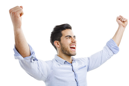 man yelling: Successful young man with arms open, isolated over white background