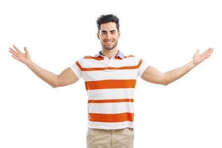 zbraně: Úspěšný mladý muž s náručí dokořán, izolované nad bílým pozadím Reklamní fotografie