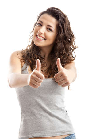 Closeup portrait of a beautiful young  woman showing thumbs up sign Stock Photo