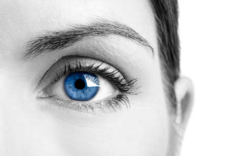 close up eyes: Close-up portrait of a beautiful female blue eye Stock Photo