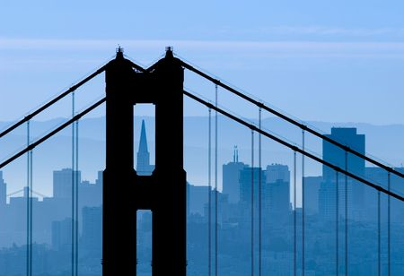 silhouetted: Golden Gate Bridge silhouetted against the San Francisco skyline.
