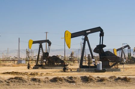 horsehead pump: Oil field in Californias Central Valley.