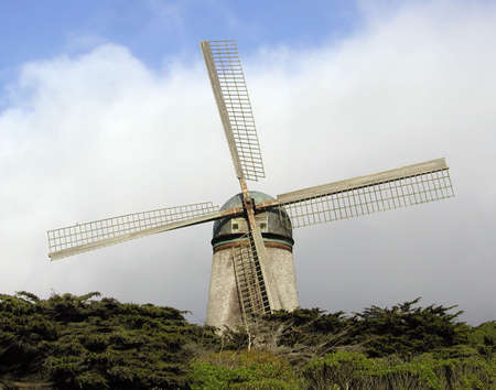 frisco: Golden Gate Park windmill with San Franciscos famous summer fog.