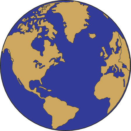 terra: Vector map of the world on the globe