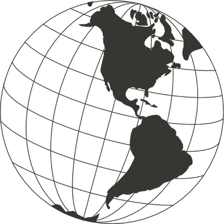 continent: Vector map of the world on the globe