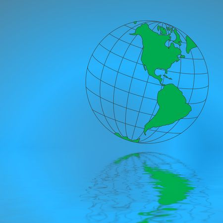 The globe reflected in water Stock Photo - 514930