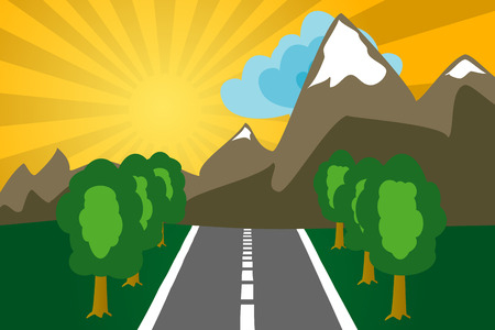 Road to mountains on a decline. The vector image. Stock Vector - 1621251